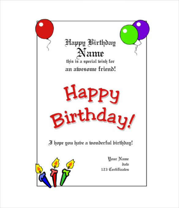 birthday gift tag template for word ; Birthday-Gift-Certificate-Template-With-Balloons