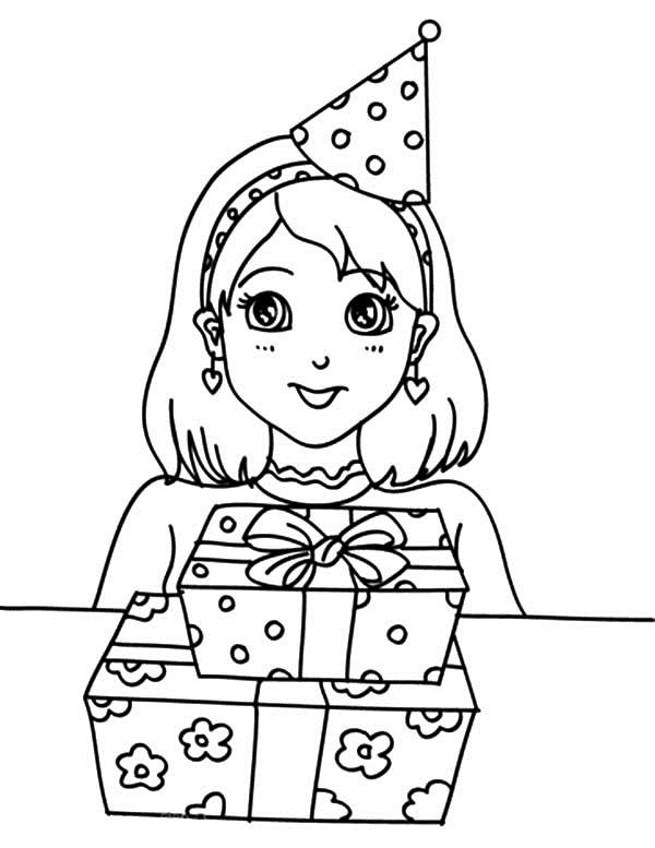 birthday girl drawing ; Preety-Girl-Birthday-Party-Coloring-Pages