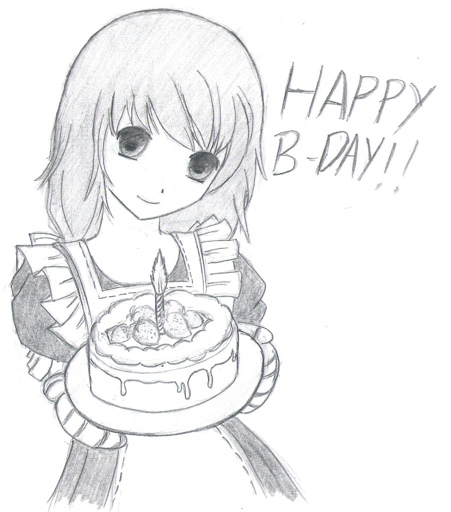 birthday girl drawing ; drawing-of-happy-birthday-happy-birthday-drawing-in-pencil-pencil-drawing-of-happy-bday-girl