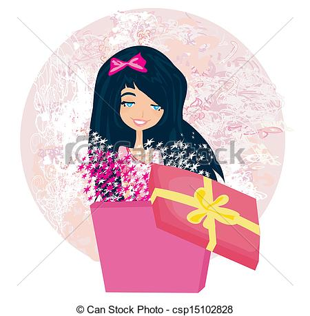 birthday girl drawing ; girl-opening-a-christmas-or-birthday-illustration_csp15102828