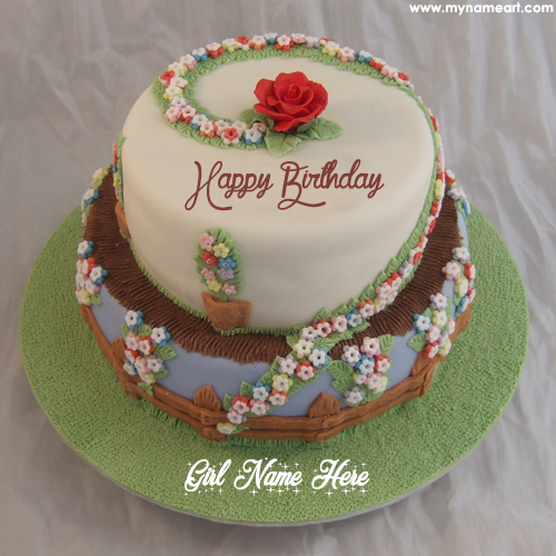 birthday girl photo editor ; floral-birthday-cake-for-cute-girl-with-name