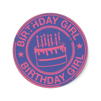 birthday girl stickers ; birthday_girl_pink_rubber_stamp_effect_classic_round_sticker-r65a3be6bb46f4bd59869f1fe3e42309e_v9waf_8byvr_324