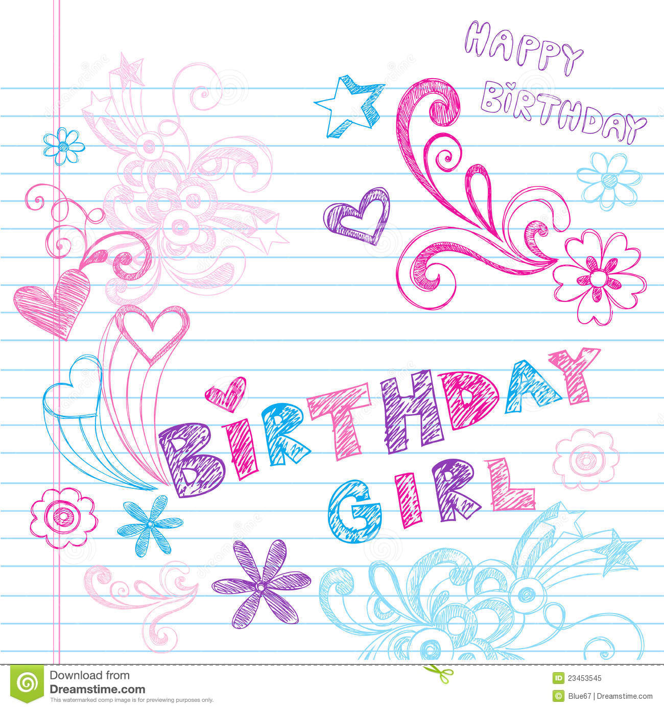 birthday girl wallpaper ; birthday-girl-sketchy-notebook-doodles-vector-23453545