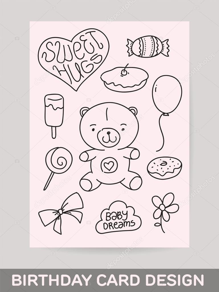 birthday greeting cards drawing ; depositphotos_83547828-stock-illustration-kids-hand-drawn-greeting-card