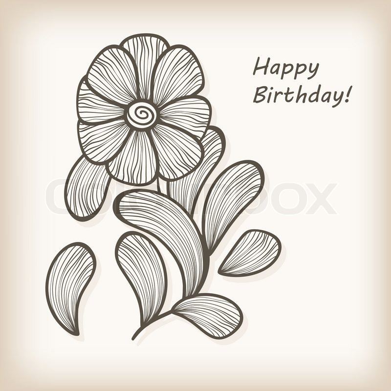 birthday greeting cards drawing ; drawing-on-greeting-cards-vector-greeting-card-with-hand-drawn-abstract-flower-stock