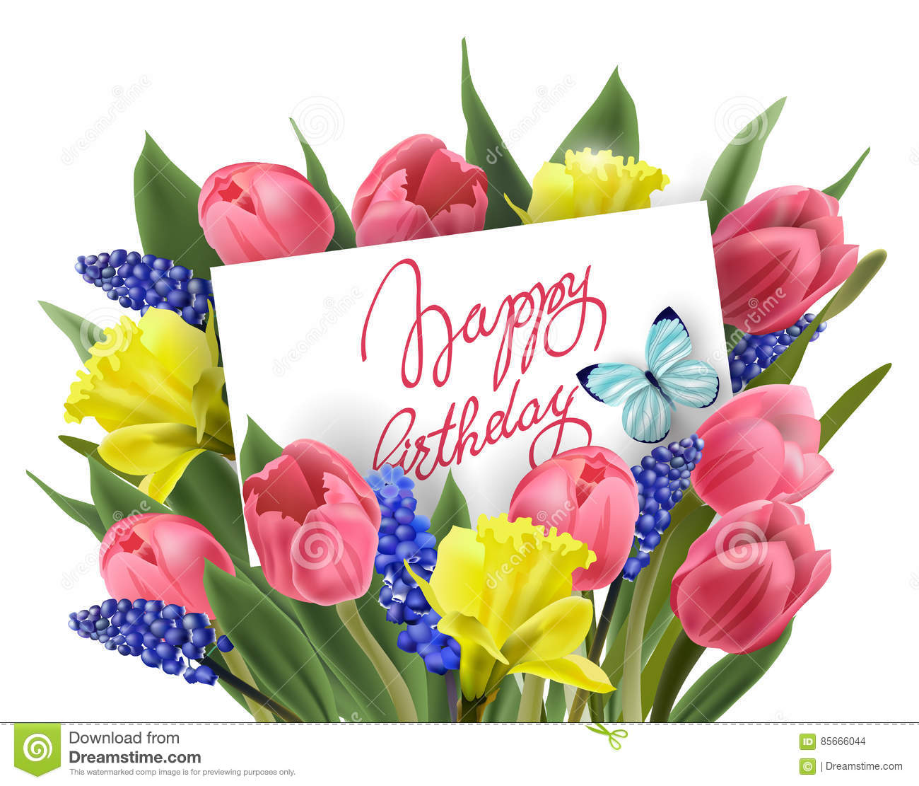birthday greeting cards images with flowers ; happy-birthday-greeting-card-bouquet-spring-flowers-tulips-daffodils-muscari-vector-template-85666044