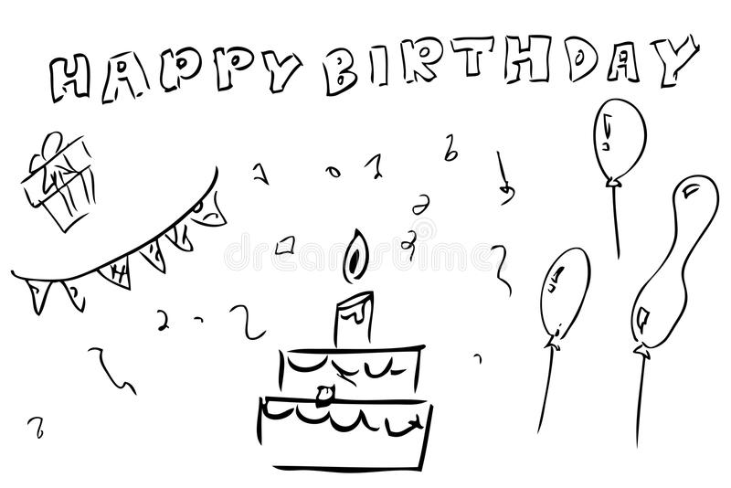 birthday greeting drawing ; outline-hand-draw-sketch-birthday-greeting-card-element-design-vector-75995357