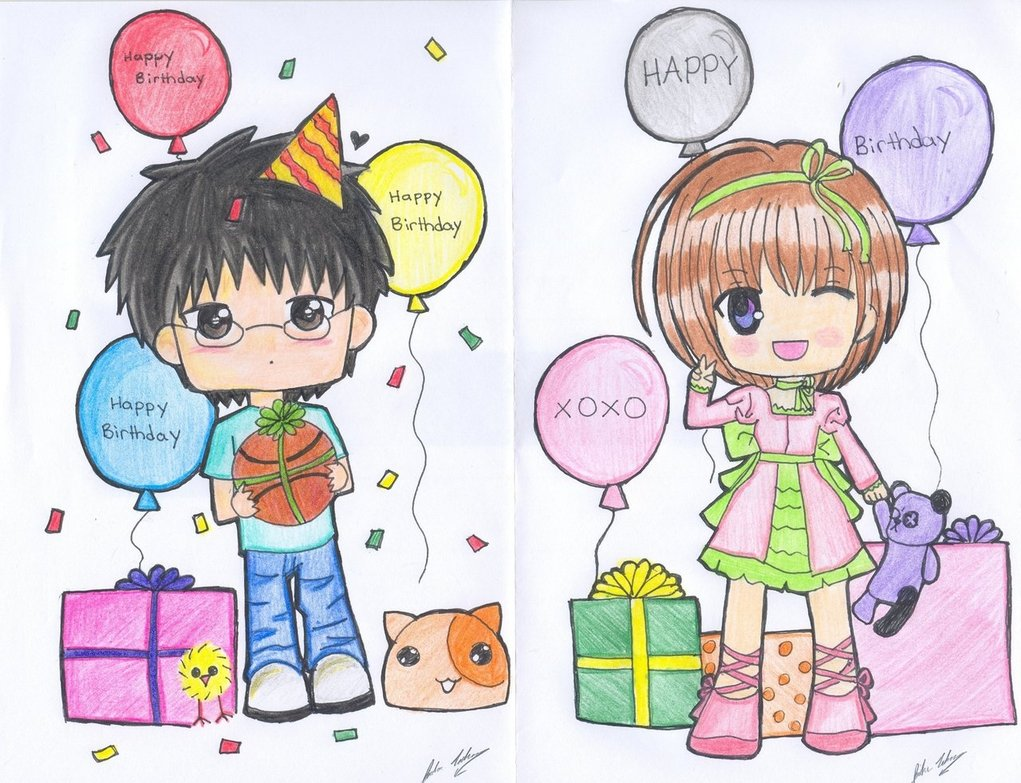 birthday greeting drawing ; present-anime-birthday-cards-drawing-classic-ideas-balloon-gifts-cat-pet-green-dresses-girls