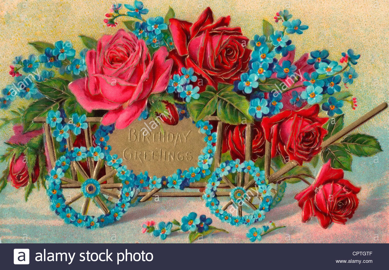 birthday greetings images ; birthday-greetings-vintage-birthday-card-with-an-old-coach-and-flowers-CPTGTF