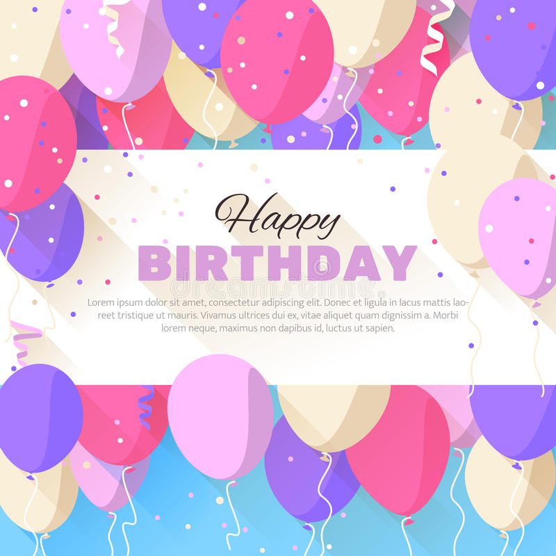 birthday greetings poster ; happy-birthday-greeting-card-flat-style-announcement-poster-flyer-vector-illustration-51209091