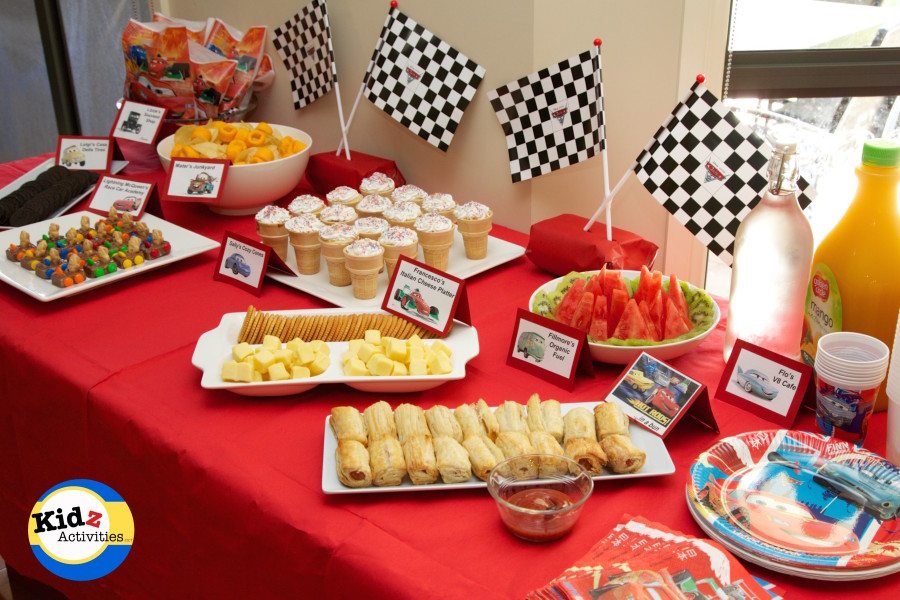 birthday group activities ; Cars-birthday-party-buffet-spread-900x600