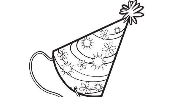birthday hat coloring page ; 17c8ee04ba08a94e1e49f26a4b9db8b5_birthday-party-hat-580x326_featuredImage