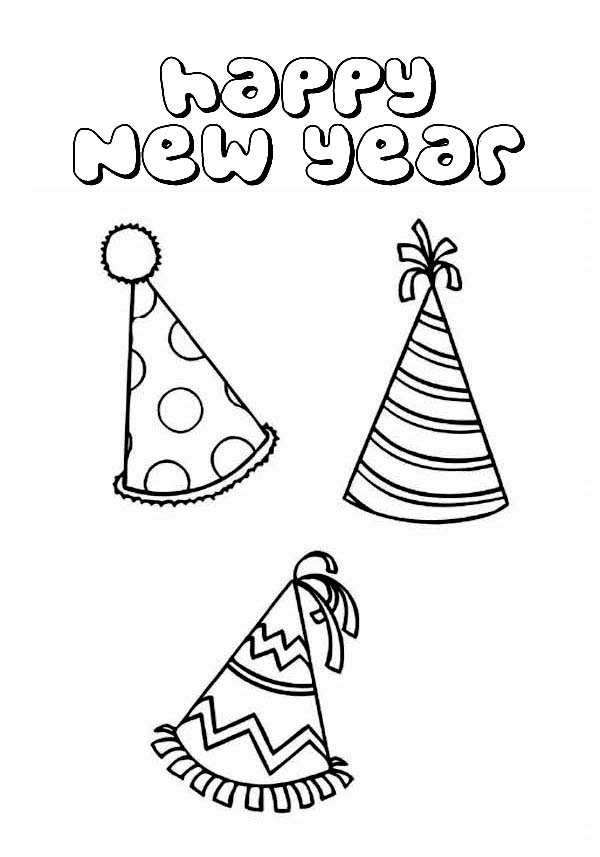 birthday hat coloring page ; New-Years-Party-Hat-Colouring-Page