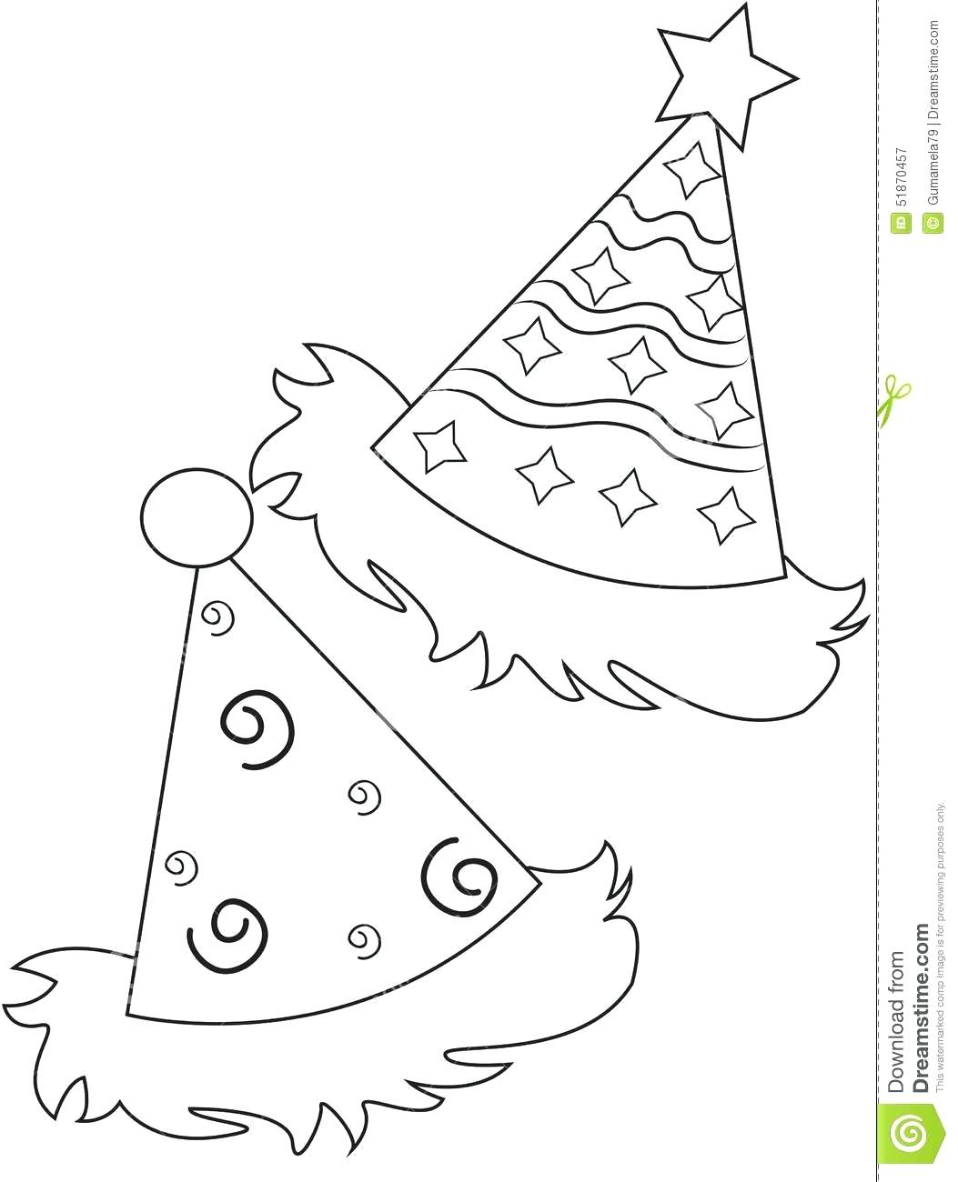 birthday hat coloring page ; birthday-hat-coloring-page-party-pages-cat-in-the-online