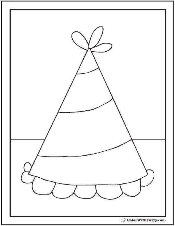 birthday hat coloring page ; birthday-hat-coloring-page
