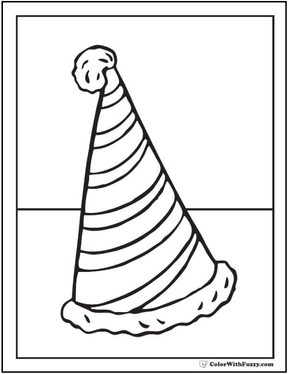 birthday hat coloring page ; birthday-hat-coloring-pages