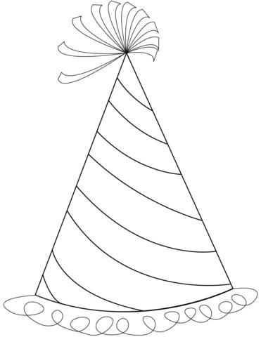 birthday hat coloring page ; happy-birthday-party-hat-coloring-page