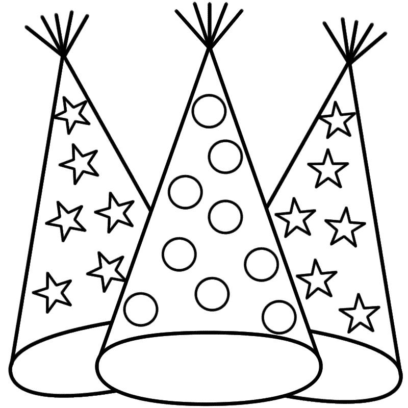 birthday hat drawing ; drawing-new-year-29
