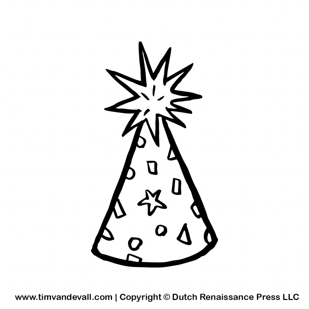 birthday hat drawing ; how-to-draw-a-birthday-hat-party-clip-art-black-and-white-clipart-panda-free-clipart-images