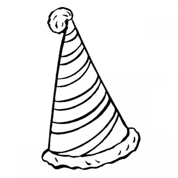 birthday hat drawing ; party-hat-clipart-black-and-white-10