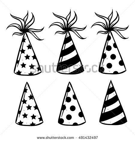 birthday hat drawing ; stock-vector-birthday-hat-cone-using-doodle-art-or-hand-drawing-style-491432497
