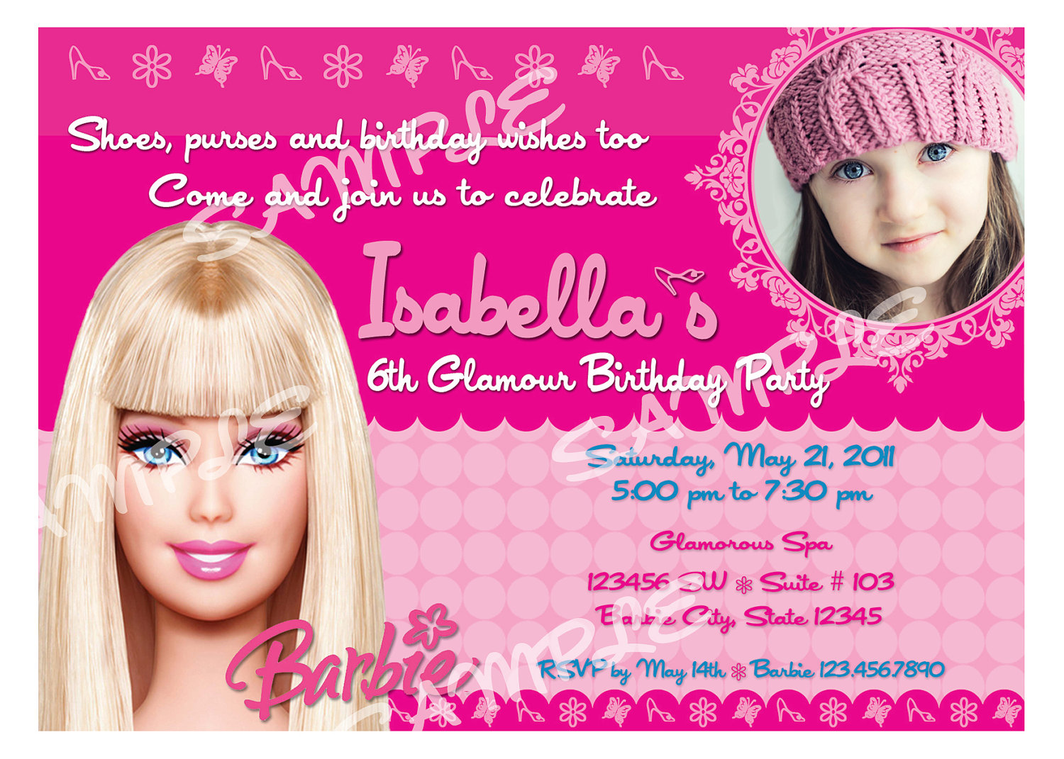 birthday invitation barbie theme ; 11d02d6aa94e66025920b75ac1a733e1