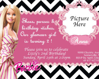 birthday invitation barbie theme ; 6fe9f5b1dc3828523650d9be623604c7