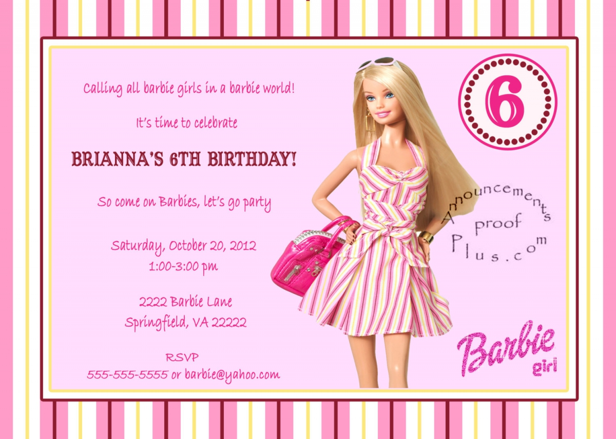 birthday invitation barbie theme ; 7f115ac429f00aef6cdc9d8c1c5de504