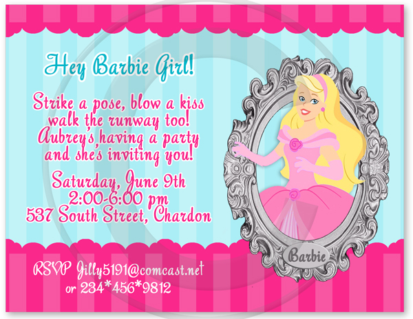birthday invitation barbie theme ; Barbie_Princess_Invitations_Dtl