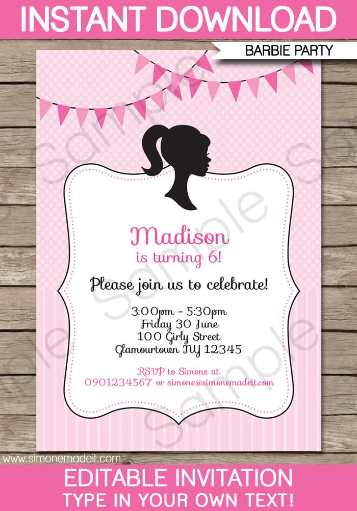 birthday invitation barbie theme ; Printable-Glamour-Girl-Party-Invitation-1