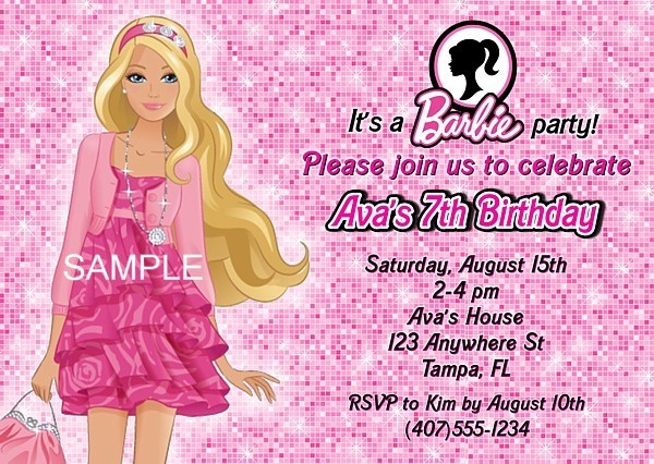 birthday invitation barbie theme ; barbieinvitation
