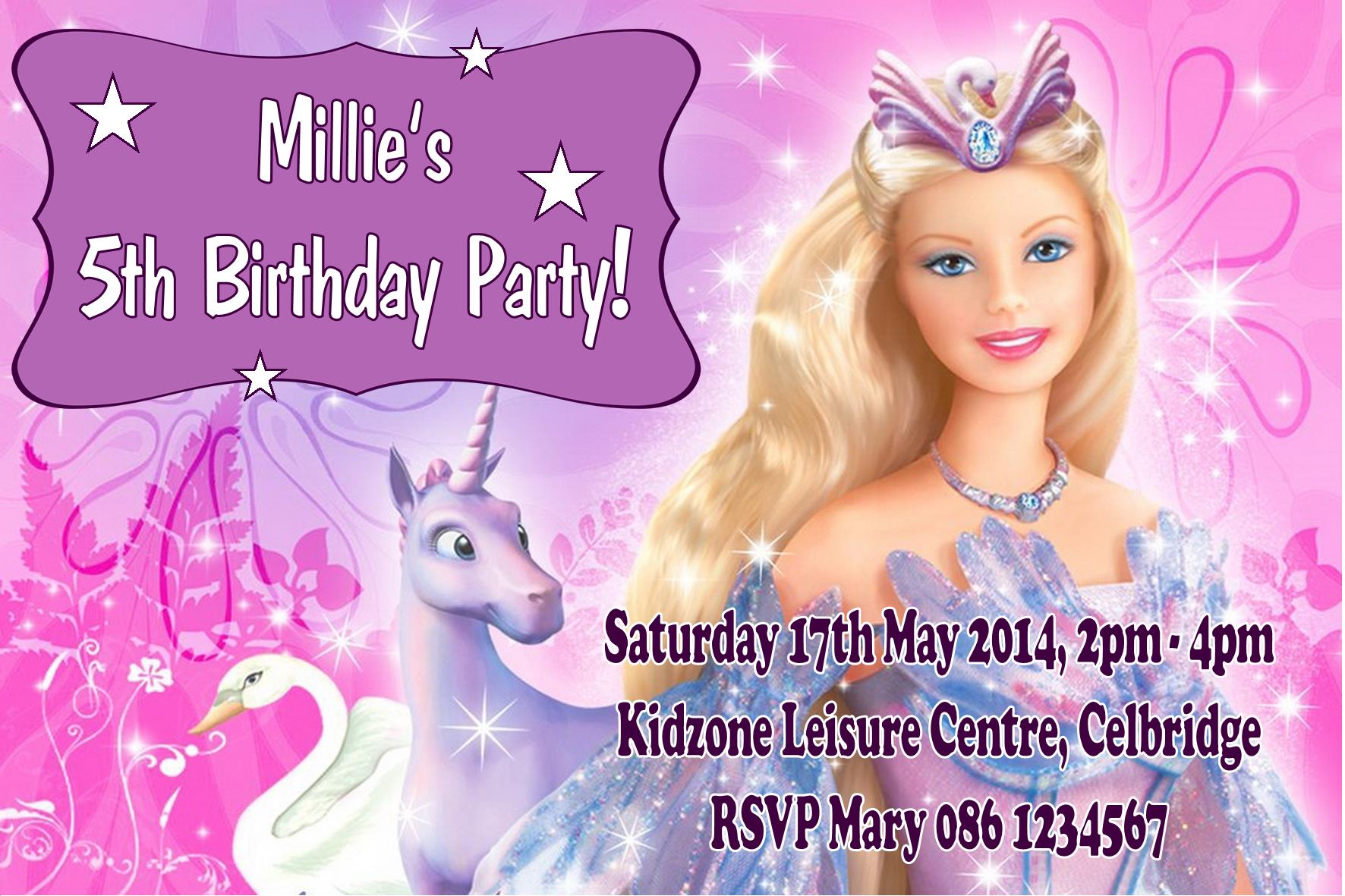 birthday invitation barbie theme ; personalised-barbie-invitations-526-p