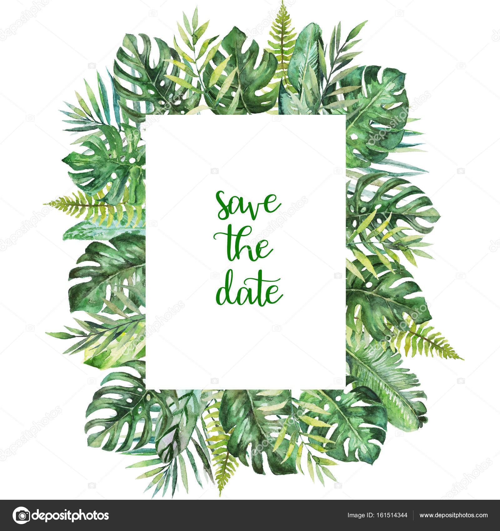 birthday invitation card borders ; depositphotos_161514344-stock-photo-watercolor-tropical-floral-illustration-leaves