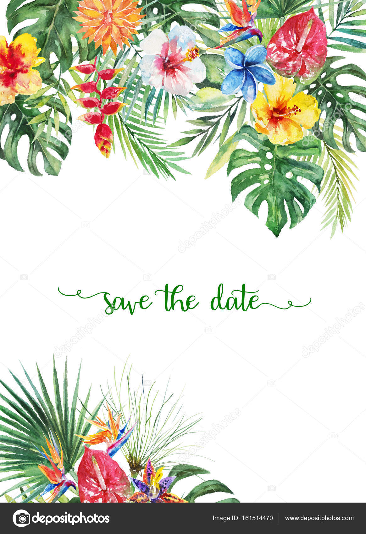 birthday invitation card borders ; depositphotos_161514470-stock-photo-watercolor-tropical-floral-illustration-flower