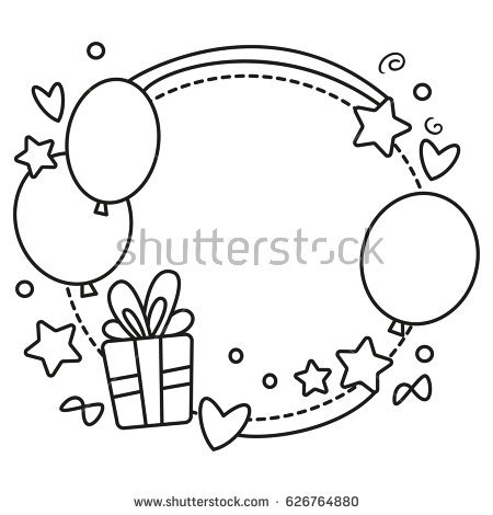 birthday invitation card borders ; stock-vector-black-and-white-vector-border-for-birthday-party-invitation-card-or-greeting-card-with-balloons-626764880