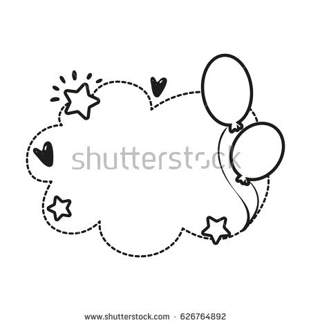 birthday invitation card borders ; stock-vector-black-and-white-vector-border-for-birthday-party-invitation-card-or-greeting-card-with-cloud-626764892