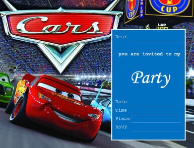 birthday invitation card car theme ; Cars-Party-Invitation