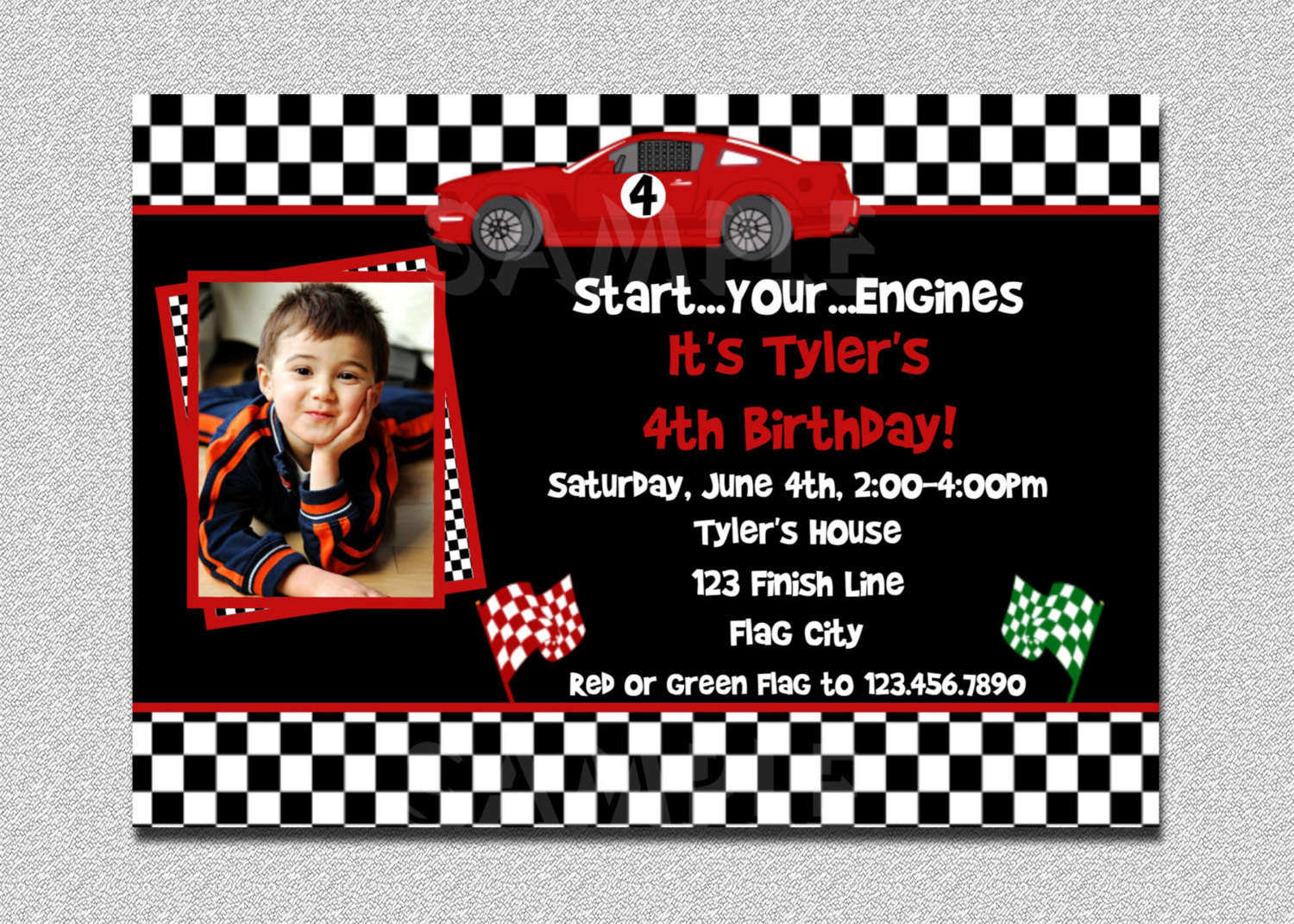 birthday invitation card car theme ; a6936f9194e707547a26de8ca774ff3e
