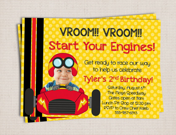 birthday invitation card car theme ; adorable-little-racer-race-car-themed-birthday-party-printable-cars-themed-birthday-invitation