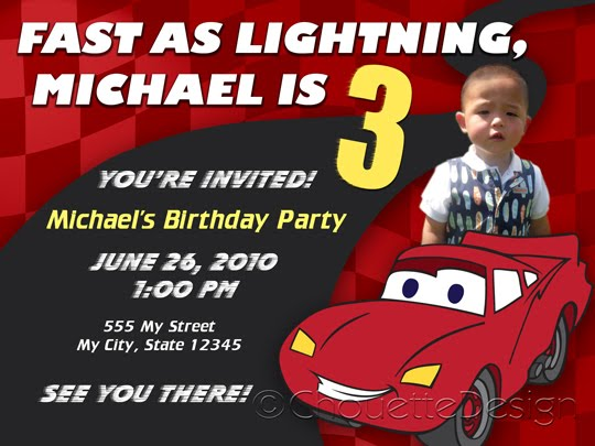 birthday invitation card car theme ; cars-themed-photo-invitation