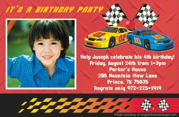 birthday invitation card car theme ; cars_birthday_invitation_magnet