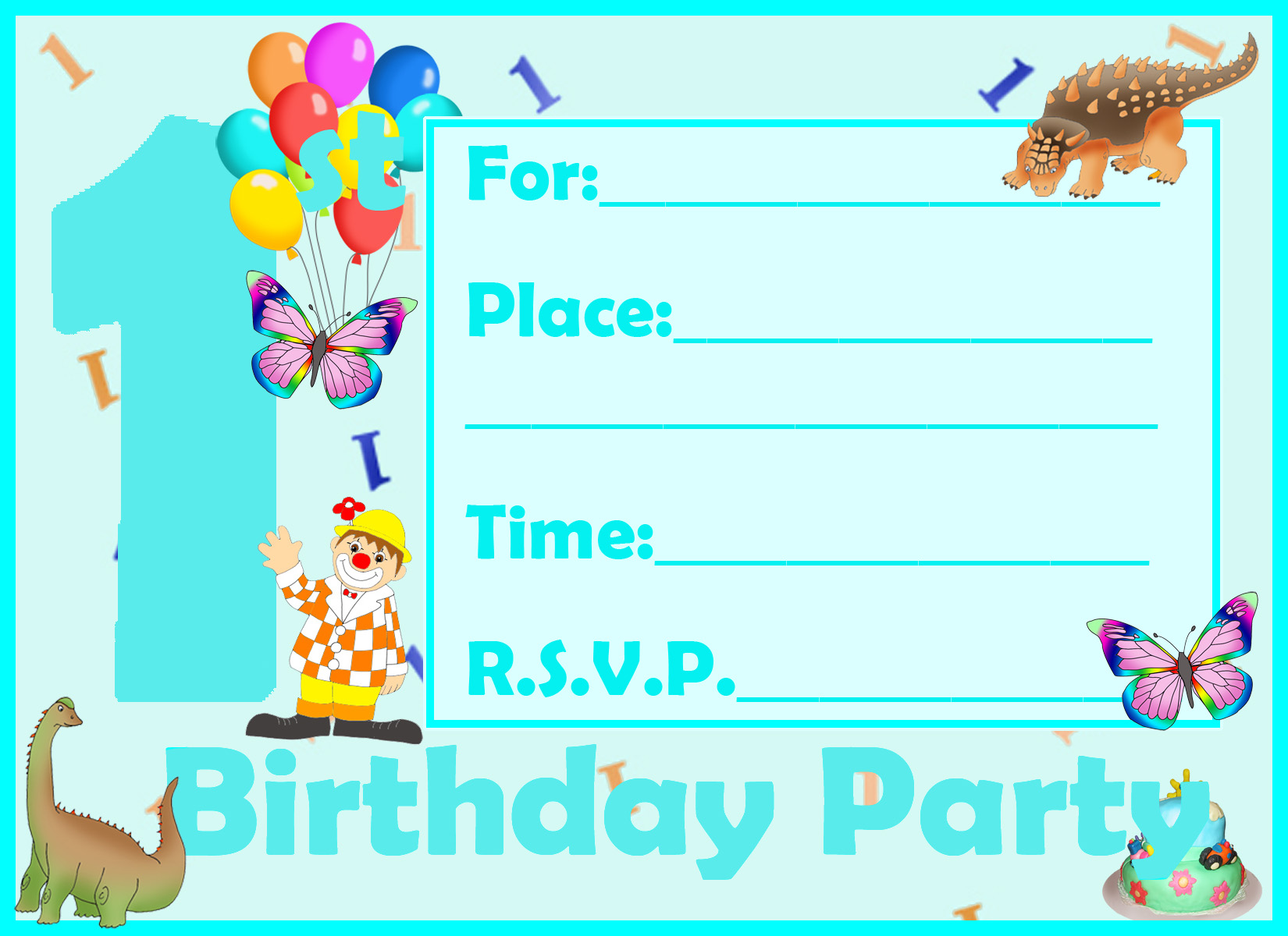 birthday invitation card clipart ; perfect-sample-printable-birthday-invitation-cards-for-boy-blue-background-first-happy-grown-perfect-dinosaurus-picture-clipart-ballon