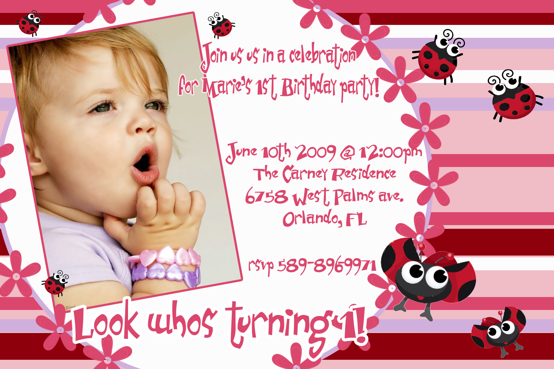 birthday invitation card design free ; baby-birthday-invitation-card-free-cute-pattern-design-unique-red-colored-pink-combined-with-photo-birthday-invitation-cards
