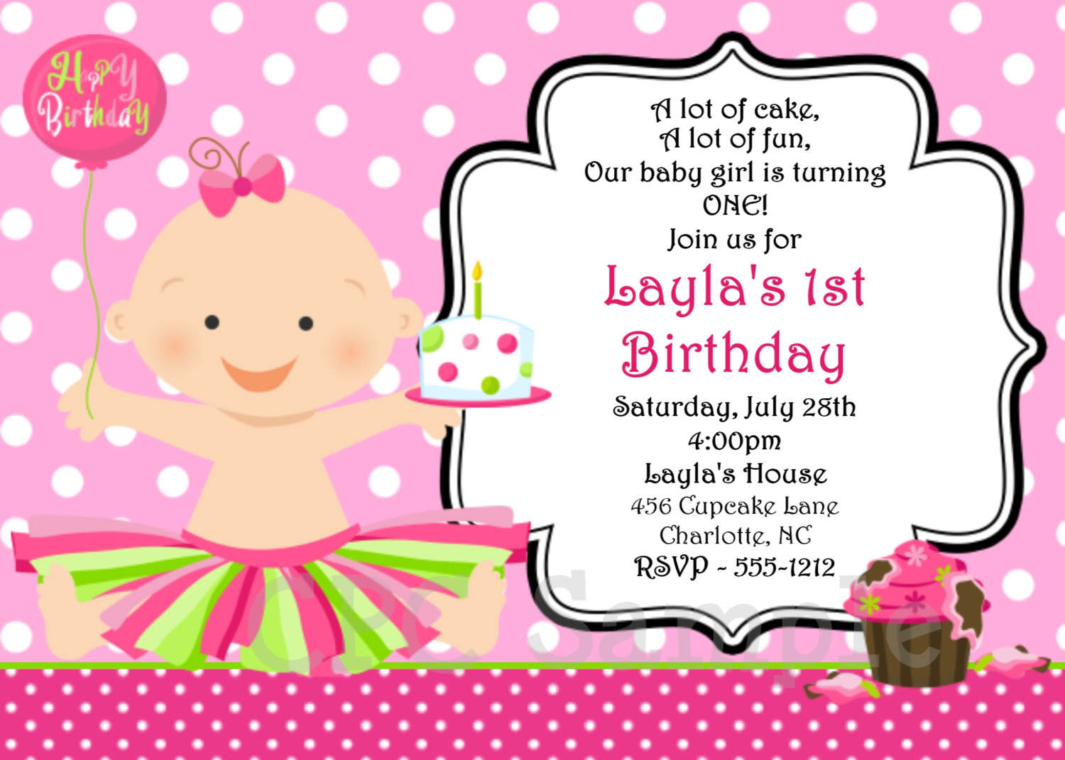 birthday invitation card sample printable ; simple-maker-birthday-invitation-card-template-perfect-ideas-pink-color-background-polka-dot-whit-baby-clipart-event-celebrating
