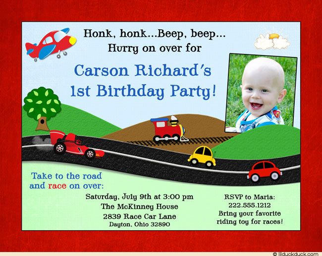 birthday invitation card themes ; Honk-Planes-Trains-Automobiles-Invitation-Textured-border-1-photo-birthday-l