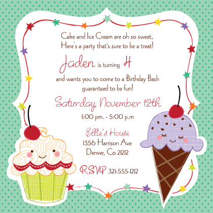 birthday invitation card themes ; amazing-creativity-invitation-cards-for-birthday-party-best-sample-clipart-cupcake-green-color-framed-beautiful-template