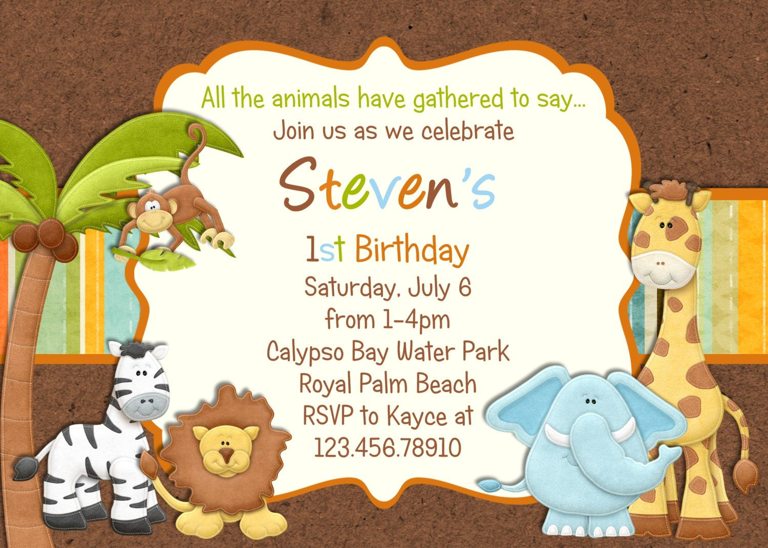birthday invitation card themes ; jungle-1st-birthday-invitation-wording
