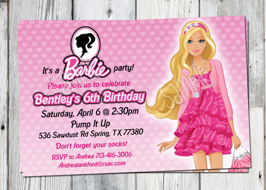 birthday invitation card themes ; nice-barbie-theme-birthday-invitation-card-1-luxury-invitation