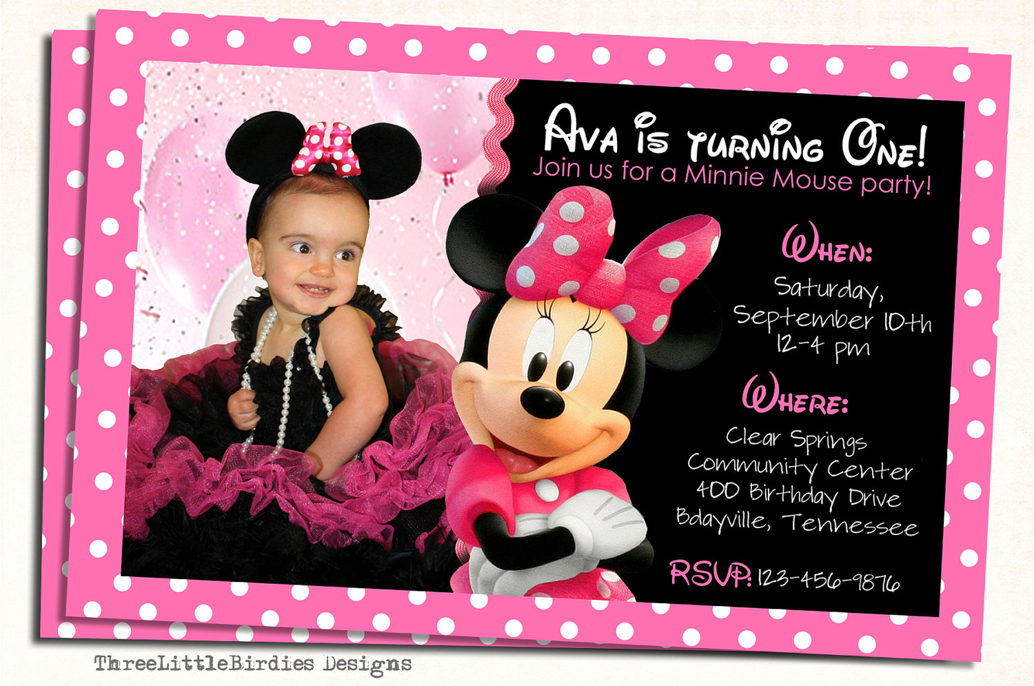 birthday invitation design ; minnie-mouse-photo-birthday-invitations-and-get-inspiration-to-create-the-Birthday-invitation-design-of-your-dreams-1