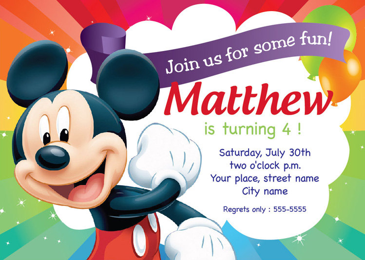 birthday invitation design templates ; nice-ideas-birthday-invitation-card-template-rectangular-shape-rainbow-background-mickey-mouse-clubhouse-inspiration